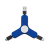 3 in 1 charging cable spinner in royal-blue