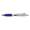 Branded Curvy Pens in silver-and-blue