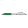 Branded Curvy Pens in silver-and-green