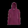 Lady Fit Lightweight Zip Hooded Sweatshirt in burgandy