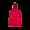 Lady Fit Lightweight Zip Hooded Sweatshirt in red
