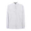 Premium Long Sleeve Pique Polo Shirt in ash