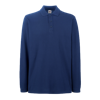 Premium Long Sleeve Pique Polo Shirt in navy