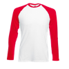 Contrast Long Sleeve Baseball T-Shirt in white-with-red