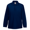 Kids Long Sleeve Pique Polo Shirt in deep-navy