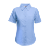 Lady Fit Short Sleeve Poplin Shirt in mid-blue