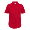 Lady Fit Short Sleeve Poplin Shirt in red