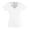 Lady Fit Value V Neck T-Shirt in white