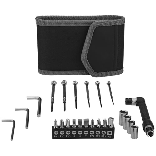 Pockets 24-piece tool set in small pouch