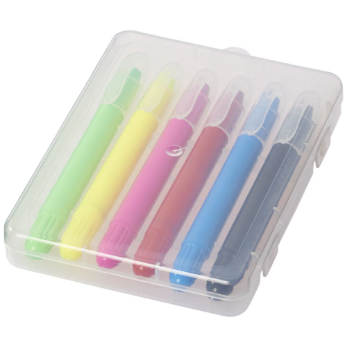 Phiz 6 retractable crayons in plastic case