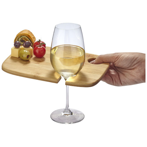 Mill wooden appetiser board with wine glass holder