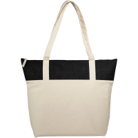 Jute and Cotton Zippered Tote