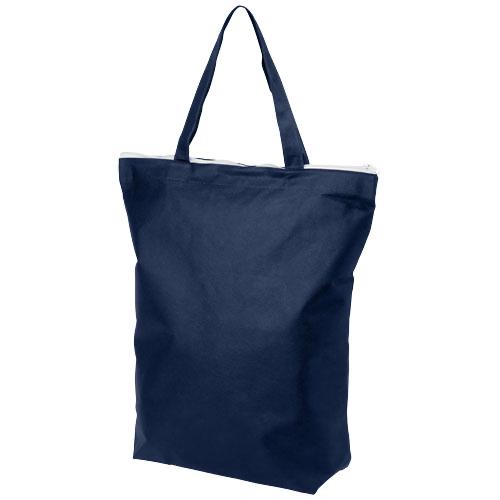 Privy zippered short handle non-woven tote bag
