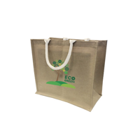Large Natural Jute Bag With Large Gusset and white web handles