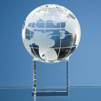 10cm Optical Crystal Globe on a Clear Crystal Base