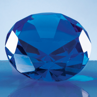 8cm Optical Crystal Blue Diamond Paperweight