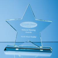18cm x 18cm x 12mm Mounted Jade Glass Star Award