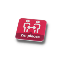 SOCIAL DISTANCING BUTTON BADGE – 37MM SQUARE
