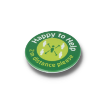 HAPPY TO HELP SOCIAL DISTANCING DBASE BADGE – 45MM CIRCLE