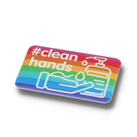 CLEAN HANDS DBASE BADGE – 70MM RECTANGULAR