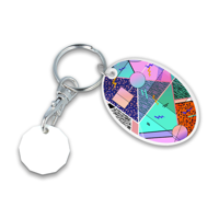 Recycled NEW £ Oval Trolley Mate Keyring (unprinted coin)