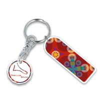 Recycled NEW £ Rectangle Trolley Mate Keyring (printed coin)