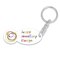 Recycled OLD £ Trolley Stick Oval Keyring