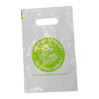 Punch Handle Carrier Bags, printed to one side.