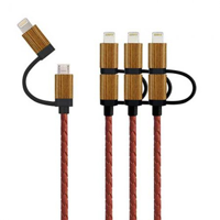 Icables Wood/ Leather - Mfi Multi Charging Cable