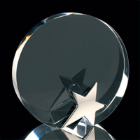 Round crystal award with chrome star 145mm high