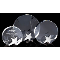 Extra Large Round crystal award with chrome star 170mm high