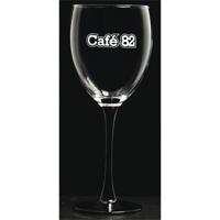 Black stemmed red wine glass