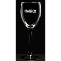 Black stemmed wine glass