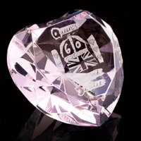 Crystal Pink heart paperweight