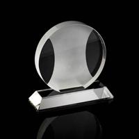Chunky crystal round award with a sandblast central design
