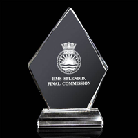 Optical Crystal Diamond Trophy 200mm high in a satin lined box