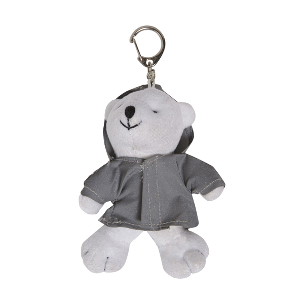 Plush polar bear in a reflective hoodie with a key ring.