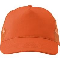 Cotton twill and plastic five panel cap.