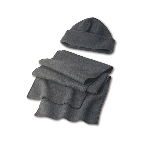 Fleece cap and scarf.