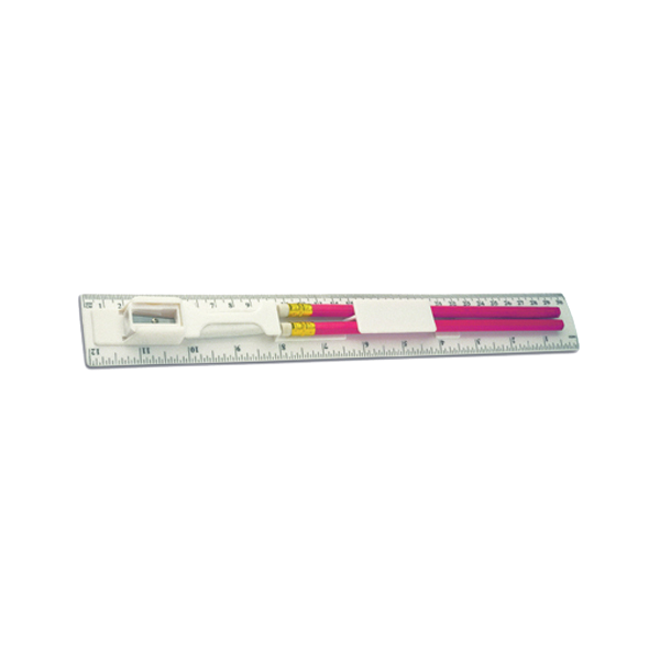 30cm Plastic ruler with two pencils.