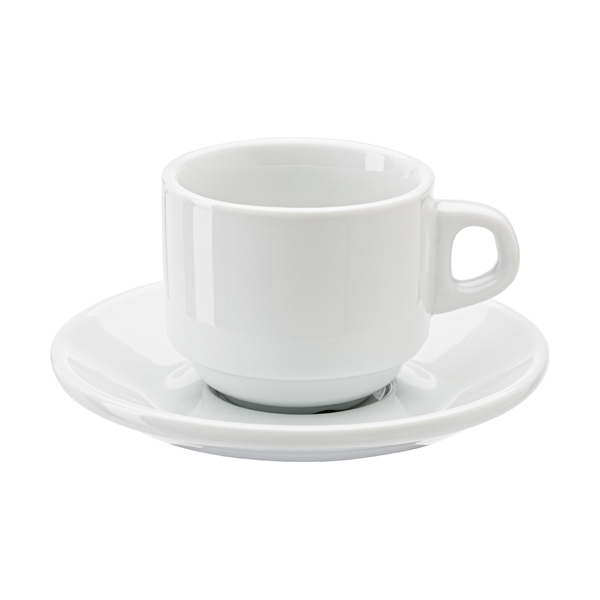Stackable porcelain cup and saucer.