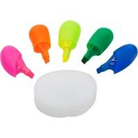 Hand shaped five colour plastic text maker.