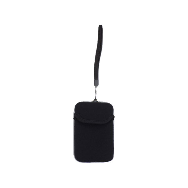 Neoprene mobile phone pouch with wrist strap.