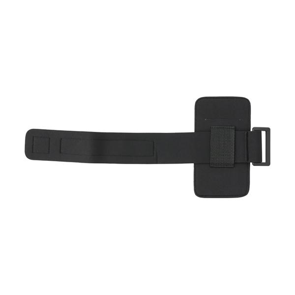 Phone armband with reflective trim.