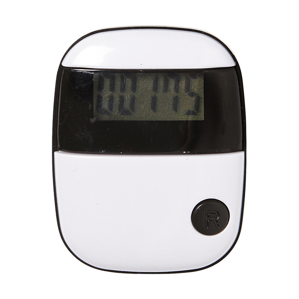 Plastic pedometer with step counter and belt clip.