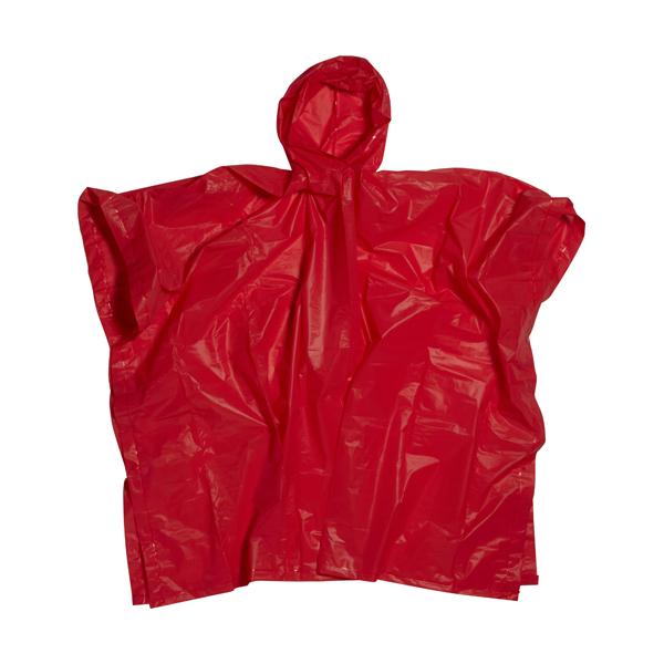 Poncho with hood in a matching pouch.