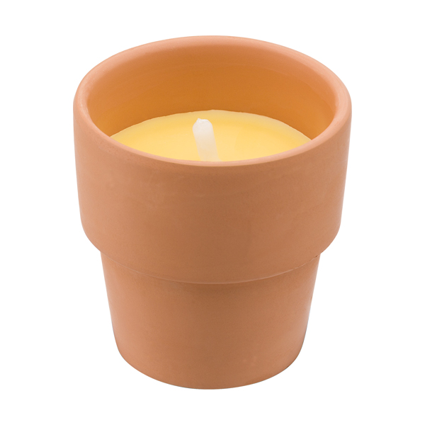 Citronella candle in round clay pot.