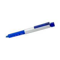 Plastic syringe shaped ballpen with blue ink.