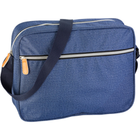 Polyester (300D) laptop bag in denim look with one large zipped front pocket, one large soft padded main compartment and adjustable carry strap.