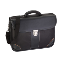 Polyester (1680D) laptop bag with a PU lid to be closed by a lock, a large padded compartment, different pockets, and a band on the back so the bag can be placed on the handle of a